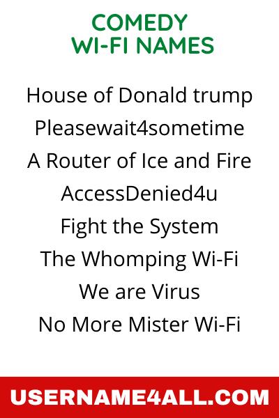 Comedy WiFi Names