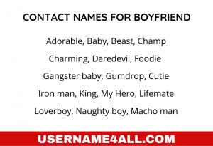 Contact Names For Boyfriends