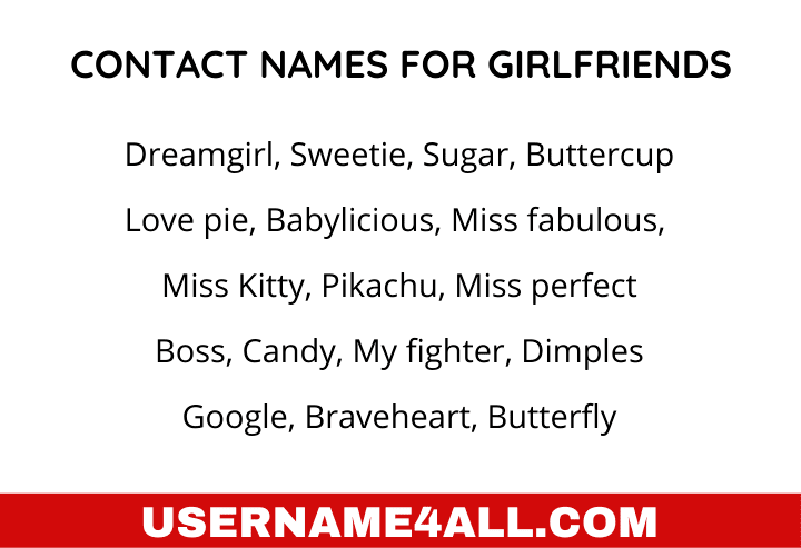Contact Names For Girlfriends