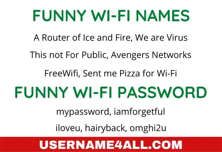 Funny Wi-Fi Names and Password
