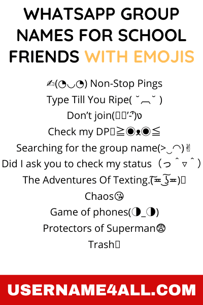 WhatsApp Group Names For School Friends With Emojis